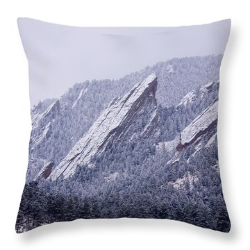 Snow Dusted Flatirons Boulder Colorado Throw Pillow