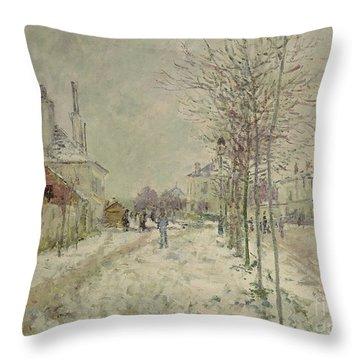 Snow Effect Throw Pillow by Claude Monet