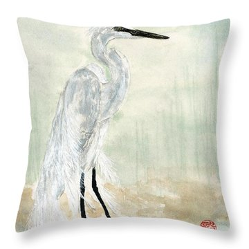 Snow Egret Throw Pillow