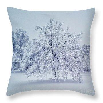Snow Encrusted Tree Throw Pillow