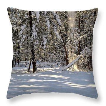 Snow Falling Off Cedars Throw Pillow