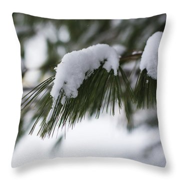 Throw Pillow featuring the photograph Snow Falling On The White Pines by Andrew Pacheco
