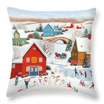 Snow Family  Throw Pillow