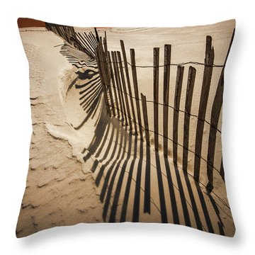 Snow Fence At Sunset Throw Pillow