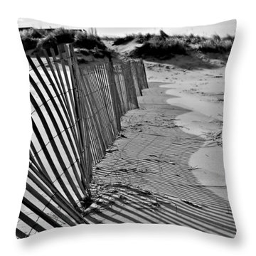 Throw Pillow featuring the photograph Snow Fence by SimplyCMB