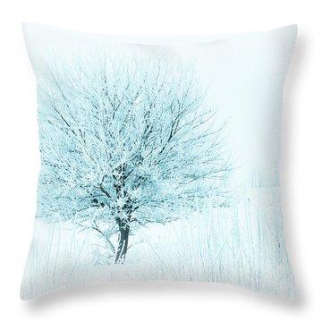Snow Field Tree Throw Pillow
