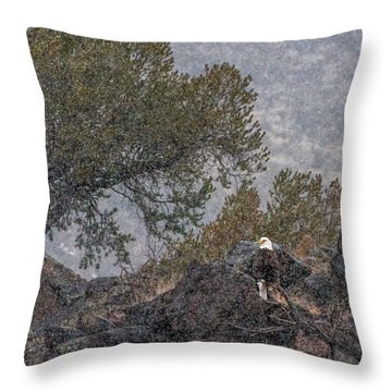 Throw Pillow featuring the photograph Snow Flurry Bald Eagle by Britt Runyon