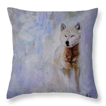 Snow Fox Throw Pillow