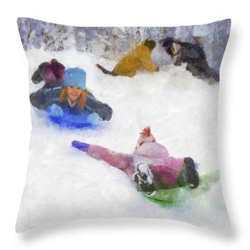 Throw Pillow featuring the digital art Snow Fun by Francesa Miller