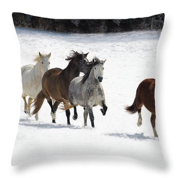 Snow Gallop Throw Pillow