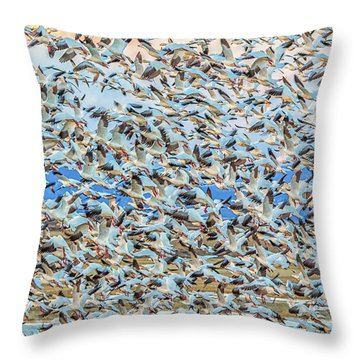 Snow Geese Fly Off Throw Pillow