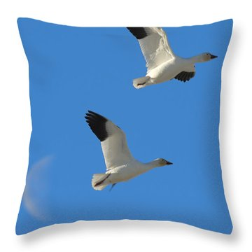 Snow Geese Moon Throw Pillow
