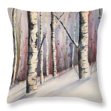Snow In Birches Throw Pillow