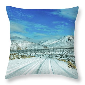 Throw Pillow featuring the photograph Snow In Death Valley by Peter Tellone