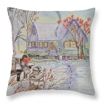 Throw Pillow featuring the painting Snow In Oregon by Connie Valasco