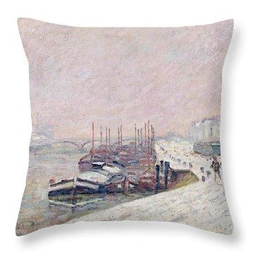 Snow In Rouen Throw Pillow