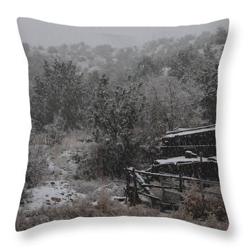 Snow In The Old Santa Fe Corral Throw Pillow