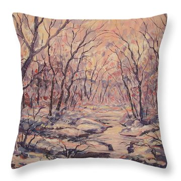 Snow In The Woods. Throw Pillow