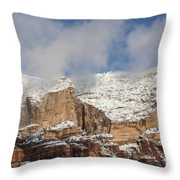 Throw Pillow featuring the photograph Snow Kissed Morning In Sedona, Az by Sandra Bronstein