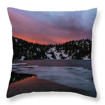 Snow Lake Icy Sunrise Fire Throw Pillow