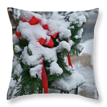 Snow Latern Throw Pillow
