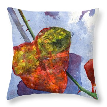 Snow Leaf Throw Pillow by Andrew King