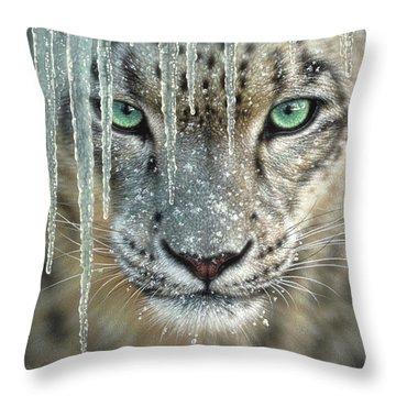 Snow Leopard - Blue Ice Throw Pillow