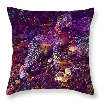 Throw Pillow featuring the digital art Snow Leopard Cat Animals  by PixBreak Art