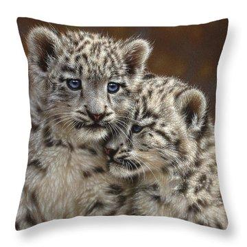 Snow Leopard Cubs - Playmates Throw Pillow