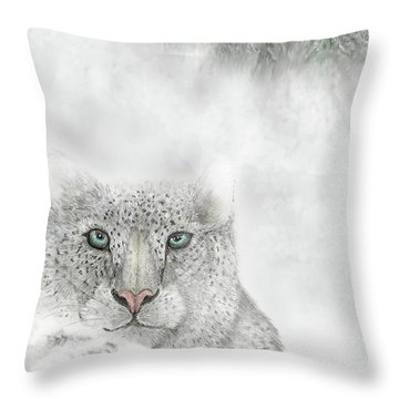 Throw Pillow featuring the digital art Snow Leopard by Darren Cannell