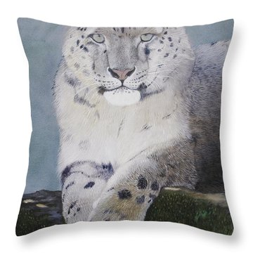 Snow Leopard Throw Pillow by Jean Yves Crispo