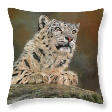 Snow Leopard On Rock Throw Pillow by David Stribbling