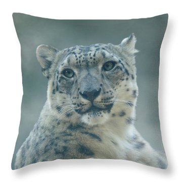 Throw Pillow featuring the photograph Snow Leopard Portrait by Sandy Keeton