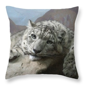 Snow Leopard Relaxing Throw Pillow