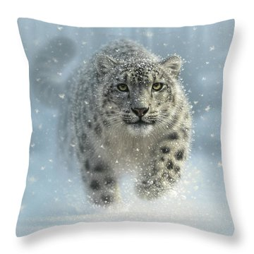 Snow Leopard - Snow Ghost Throw Pillow