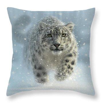 Snow Leopard - Snow Ghost Throw Pillow