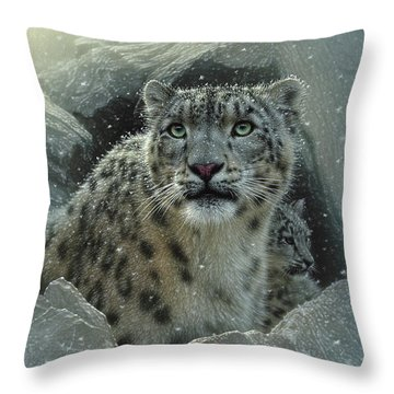 Snow Leopard - The Fortress Throw Pillow