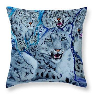 Snow Leopards Throw Pillow by Raymond Perez