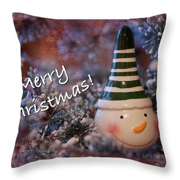 Snow Man Smile Throw Pillow