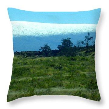 Snowy Mauna Loa Throw Pillow by Karen Nicholson
