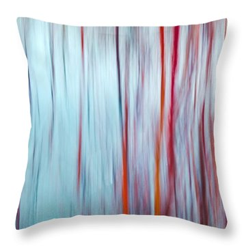 Snow Melt In The Wetlands Red Throw Pillow