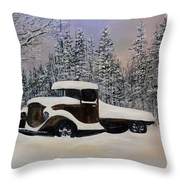 Throw Pillow featuring the painting Snow Mobile by Ken Ahlering