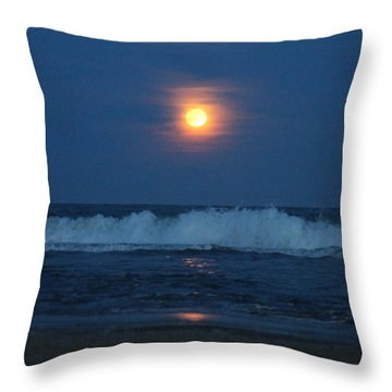 Snow Moon Ocean Waves Throw Pillow