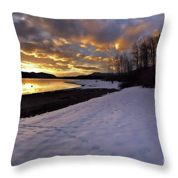 Snow On Beach Throw Pillow