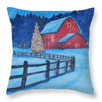 Snow On Christmas Eve Throw Pillow