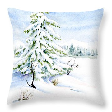 Snow On Evergreens Throw Pillow