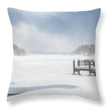 Snow On Lake Charlevoix Throw Pillow