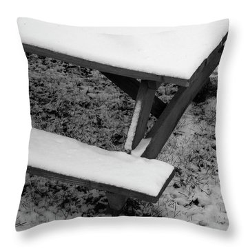 Snow On Picnic Table Throw Pillow