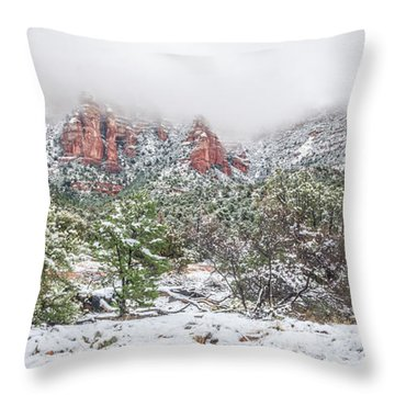 Snow On Red Rock Throw Pillow