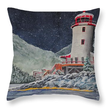 Snow On Sitka Sound Throw Pillow